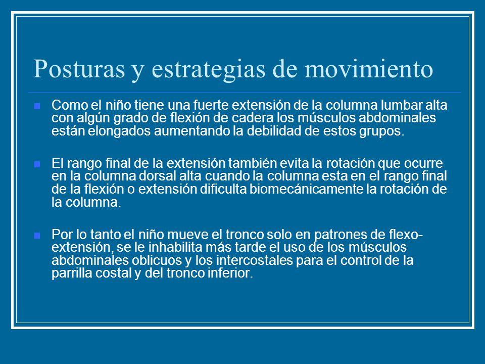 Posturas y estrategias de movimiento Como el niño tiene una fuerte extensión de la columna lumbar alta con algún grado de flexión de cadera los múscul