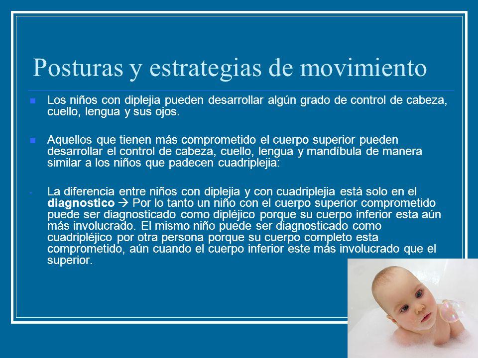 Posturas y estrategias de movimiento Los niños con diplejia pueden desarrollar algún grado de control de cabeza, cuello, lengua y sus ojos. Aquellos q