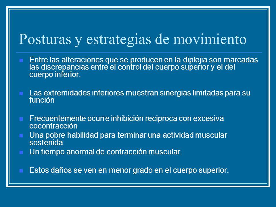 Posturas y estrategias de movimiento Entre las alteraciones que se producen en la diplejia son marcadas las discrepancias entre el control del cuerpo