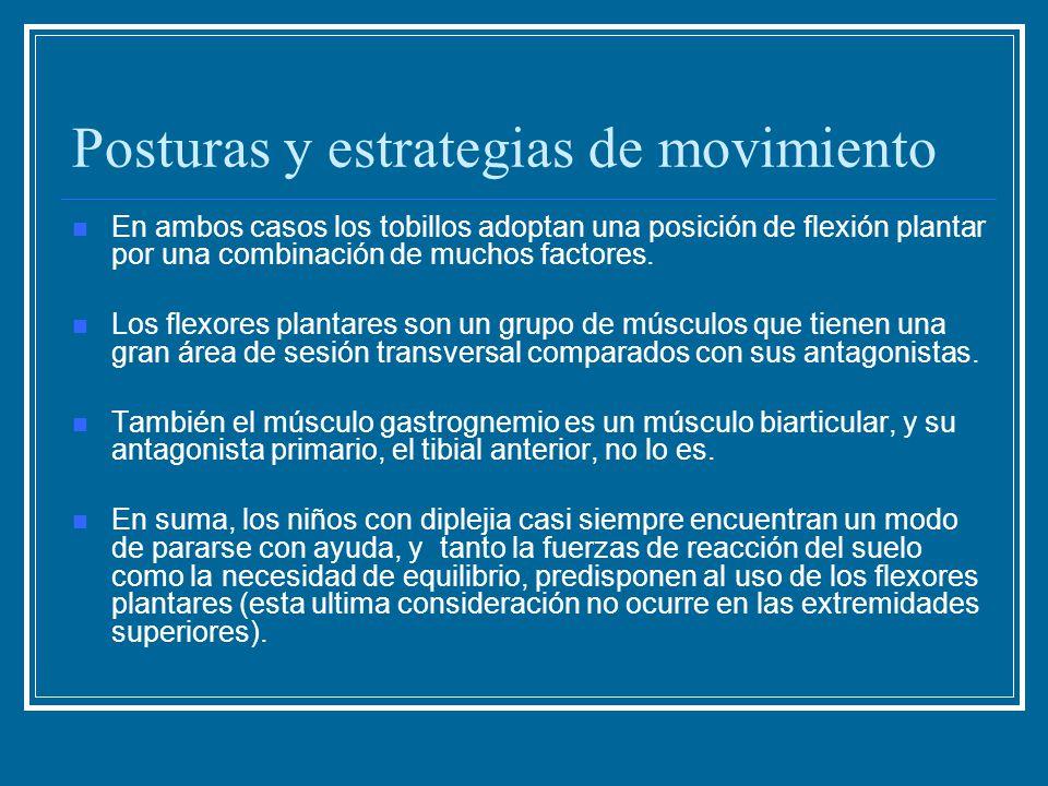 Posturas y estrategias de movimiento En ambos casos los tobillos adoptan una posición de flexión plantar por una combinación de muchos factores. Los f