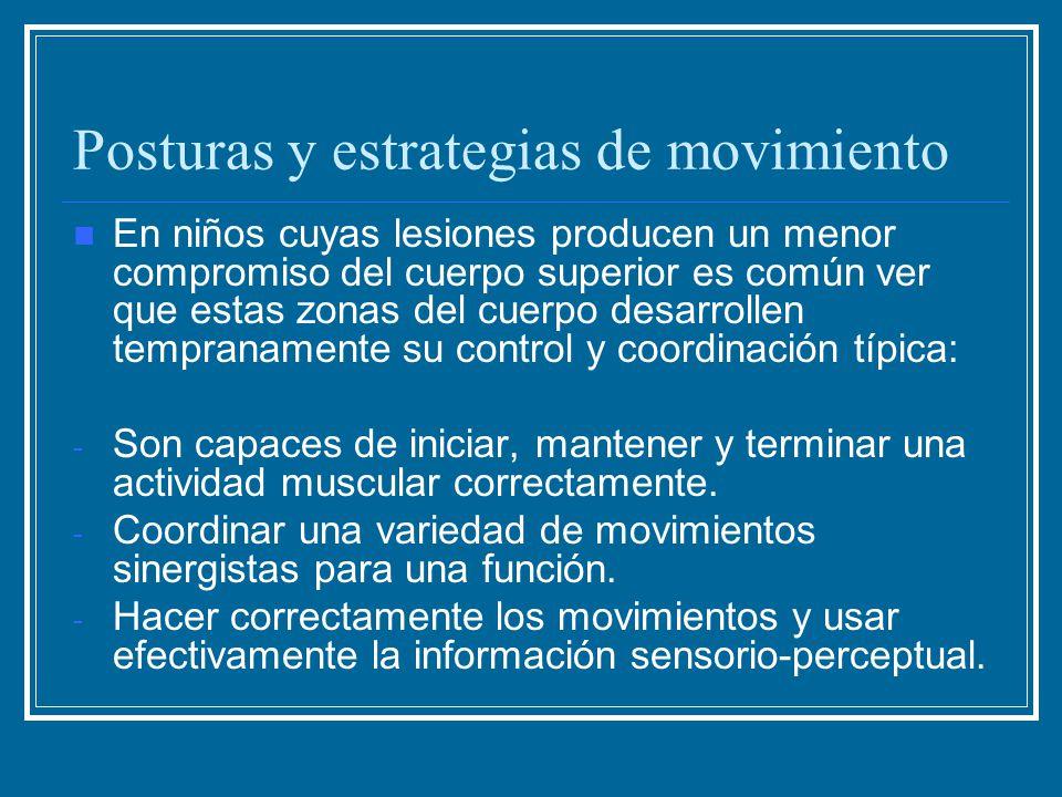 Posturas y estrategias de movimiento En niños cuyas lesiones producen un menor compromiso del cuerpo superior es común ver que estas zonas del cuerpo