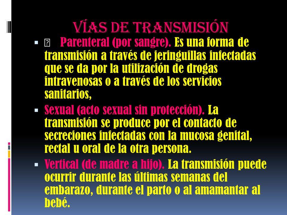 Vías de transmisión   Parenteral (por sangre). Es una forma de transmisión a través de jeringuillas infectadas que se da por la utilización de droga