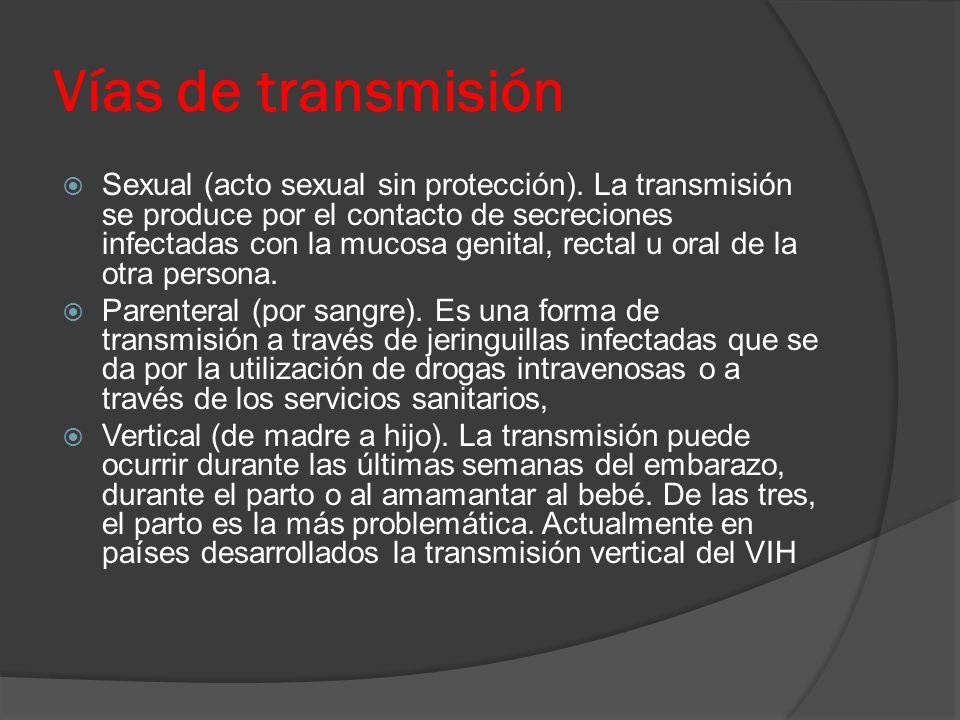 Vías de transmisión  Sexual (acto sexual sin protección).