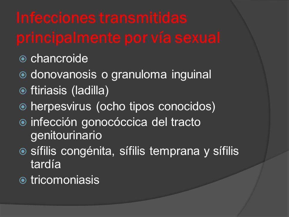Infecciones transmitidas principalmente por vía sexual  chancroide  donovanosis o granuloma inguinal  ftiriasis (ladilla)  herpesvirus (ocho tipos conocidos)  infección gonocóccica del tracto genitourinario  sífilis congénita, sífilis temprana y sífilis tardía  tricomoniasis