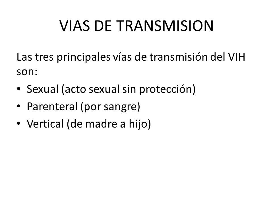 VIAS DE TRANSMISION Las tres principales vías de transmisión del VIH son: Sexual (acto sexual sin protección) Parenteral (por sangre) Vertical (de madre a hijo)