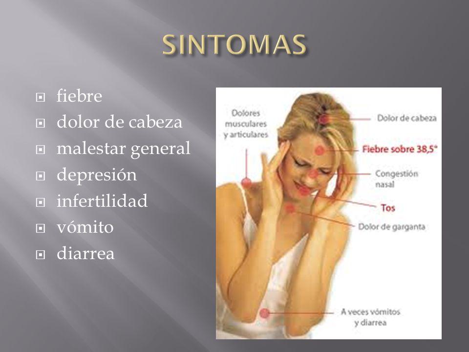  fiebre  dolor de cabeza  malestar general  depresión  infertilidad  vómito  diarrea
