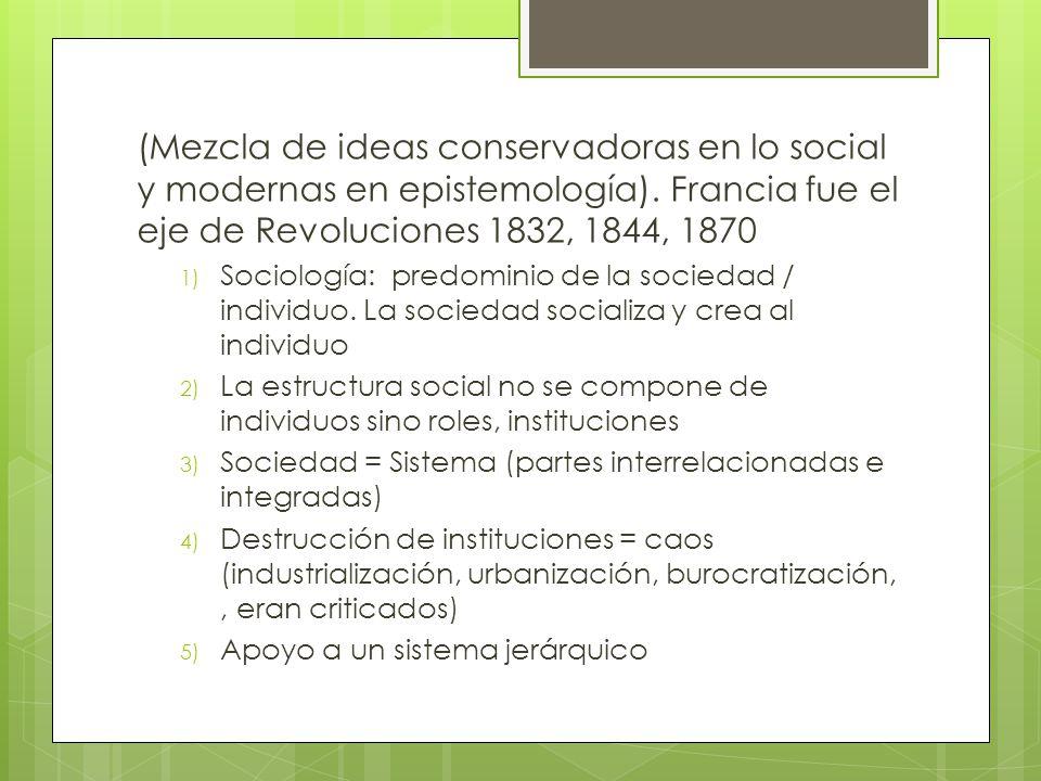 (Mezcla de ideas conservadoras en lo social y modernas en epistemología).