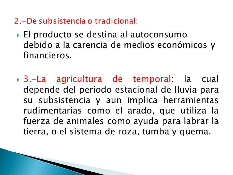 El producto se destina al autoconsumo debido a la carencia de medios económicos y financieros.