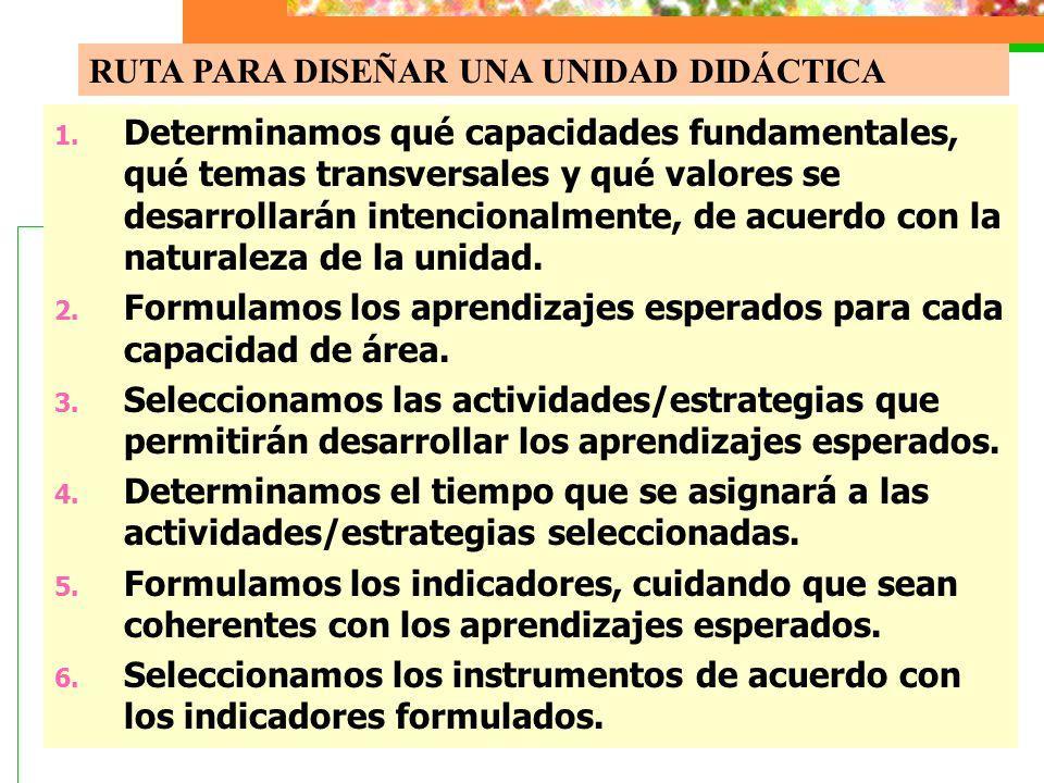 1. Determinamos qué capacidades fundamentales, qué temas transversales y qué valores se desarrollarán intencionalmente, de acuerdo con la naturaleza d