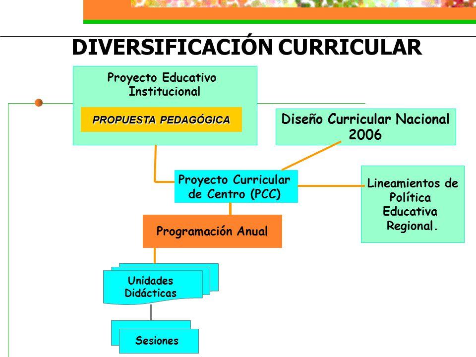 Programación Anual Proyecto Curricular de Centro (PCC) Proyecto Educativo Institucional Diseño Curricular Nacional 2006 Unidades Didácticas Sesiones Lineamientos de Política Educativa Regional.