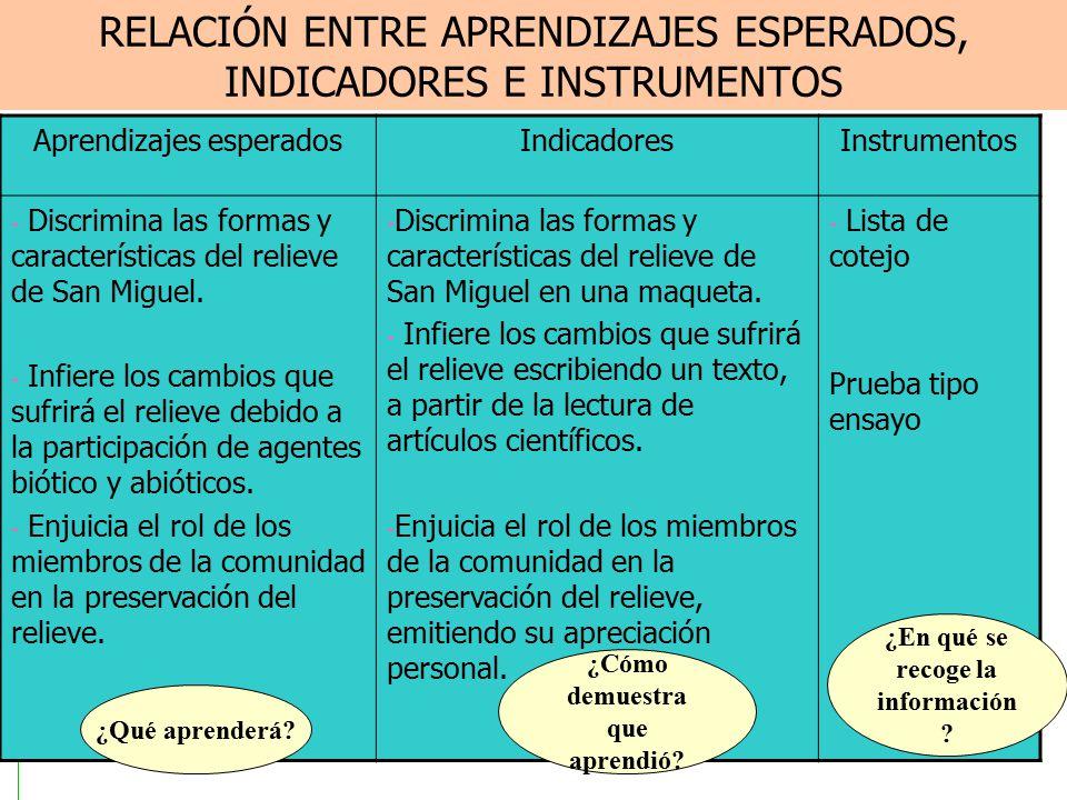 RELACIÓN ENTRE APRENDIZAJES ESPERADOS, INDICADORES E INSTRUMENTOS Aprendizajes esperadosIndicadoresInstrumentos - Discrimina las formas y características del relieve de San Miguel.