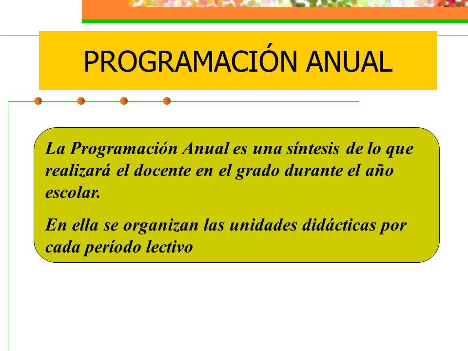 La Programación Anual es una síntesis de lo que realizará el docente en el grado durante el año escolar. En ella se organizan las unidades didácticas