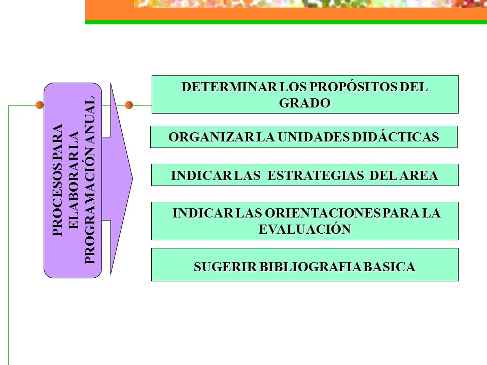 DETERMINAR LOS PROPÓSITOS DEL GRADO ORGANIZAR LA UNIDADES DIDÁCTICAS INDICAR LAS ESTRATEGIAS DEL AREA INDICAR LAS ORIENTACIONES PARA LA EVALUACIÓN INDICAR LAS ORIENTACIONES PARA LA EVALUACIÓN SUGERIR BIBLIOGRAFIA BASICA PROCESOS PARA ELABORAR LA PROGRAMACIÓN ANUAL