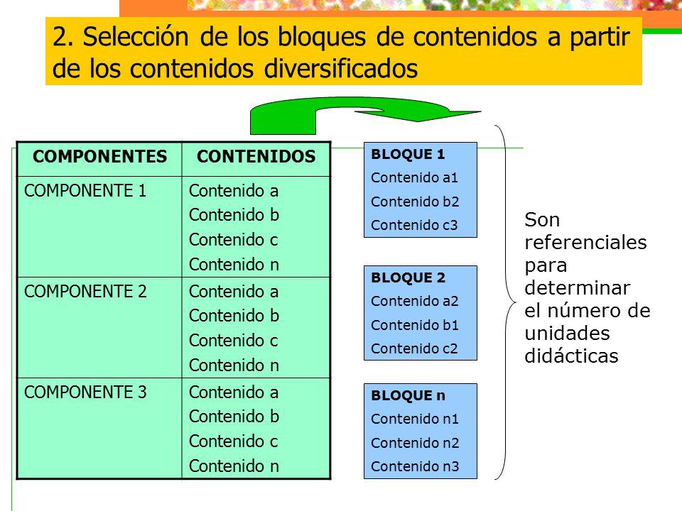 2. Selección de los bloques de contenidos a partir de los contenidos diversificados COMPONENTESCONTENIDOS COMPONENTE 1Contenido a Contenido b Contenid