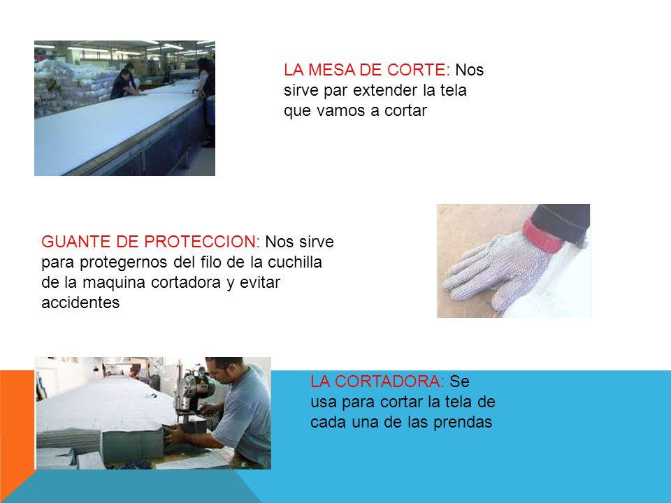 LA MESA DE CORTE: Nos sirve par extender la tela que vamos a cortar GUANTE DE PROTECCION: Nos sirve para protegernos del filo de la cuchilla de la maquina cortadora y evitar accidentes LA CORTADORA: Se usa para cortar la tela de cada una de las prendas