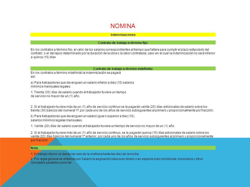 NOMINA Indemnizaciones Contrato de trabajo a término fijo: En los contratos a término fijo, el valor de los salarios correspondientes al tiempo que faltare para cumplir el plazo estipulado del contrato; o el del lapso determinado por la duración de la obra o la labor contratada, caso en el cual la indemnización no será inferior a quince (15) días Contrato de trabajo a término indefinido: En los contratos a término indefinido la indemnización se pagará así: a) Para trabajadores que devenguen un salario inferior a diez (10) salarios mínimos mensuales legales: 1.