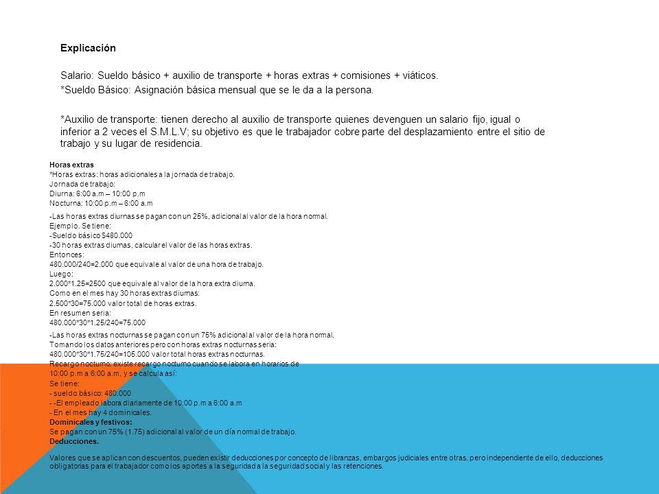 Explicación Salario: Sueldo básico + auxilio de transporte + horas extras + comisiones + viáticos.
