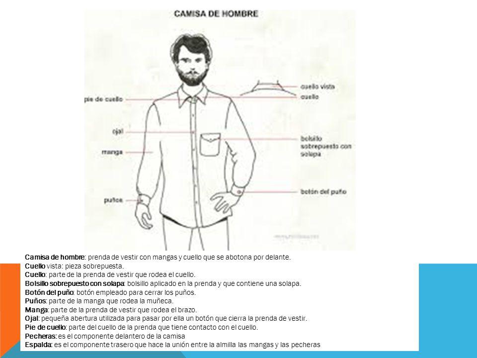 Camisa de hombre: prenda de vestir con mangas y cuello que se abotona por delante.