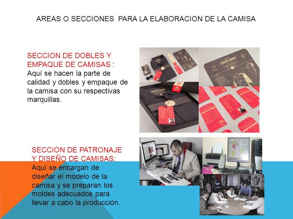 AREAS O SECCIONES PARA LA ELABORACION DE LA CAMISA SECCION DE DOBLES Y EMPAQUE DE CAMISAS : Aquí se hacen la parte de calidad y dobles y empaque de la camisa con su respectivas marquillas.