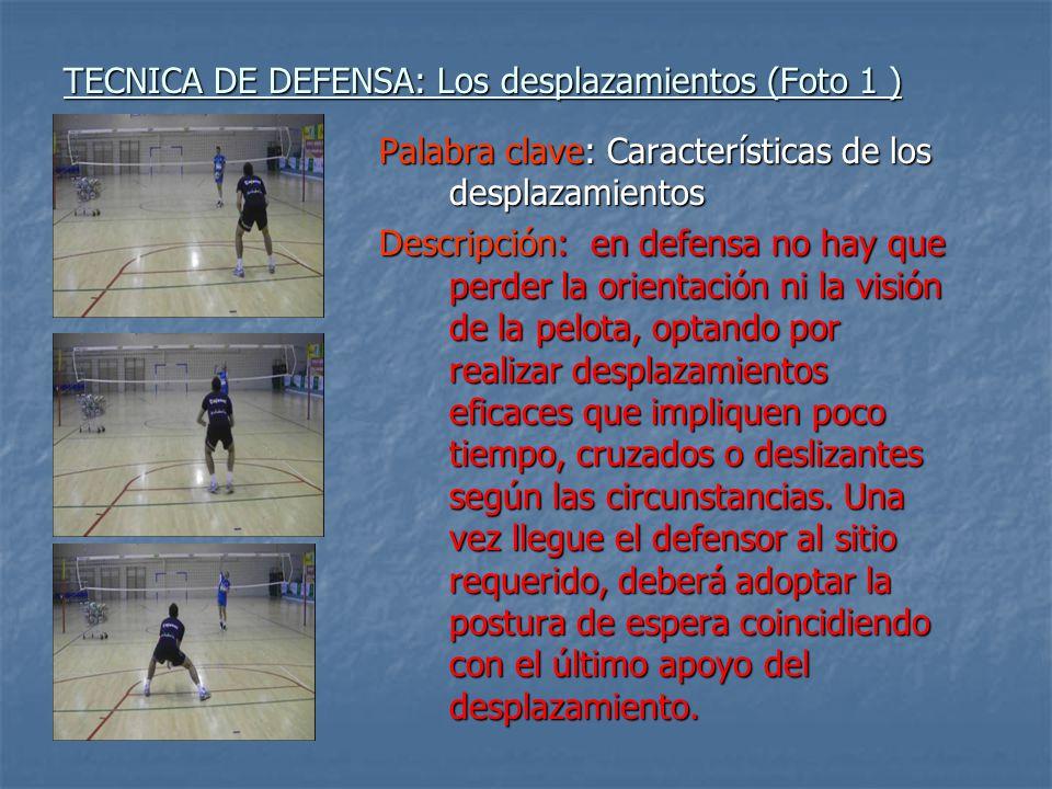 TECNICA DE DEFENSA: Los desplazamientos (Foto 1 ) Palabra clave: Características de los desplazamientos Descripción: en defensa no hay que perder la o