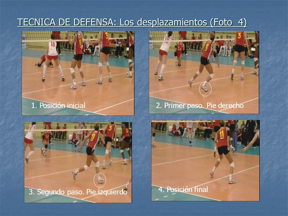 TECNICA DE DEFENSA: Los desplazamientos (Foto 4) 1. Posición inicial2. Primer paso. Pie derecho 3. Segundo paso. Pie izquierdo 4. Posición final