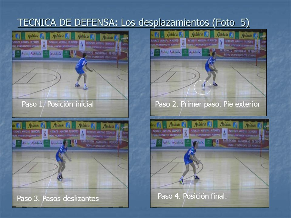 TECNICA DE DEFENSA: Los desplazamientos (Foto 5) Paso 1. Posición inicialPaso 2. Primer paso. Pie exterior Paso 3. Pasos deslizantes Paso 4. Posición