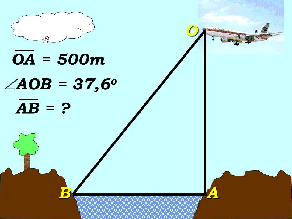tan  AOB = tan  AOB =ABAO AB = tan37,6 o (500) AB = tan37,6 o (500) AB = 0,77 (500) AB = 0,77 (500) AB = 385m AB = 385m Respuesta: El ancho de la bahía es de 385m.