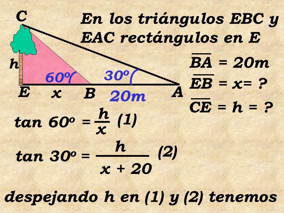 h = x tan60 o h = (x + 20) tan 30 o entonces x tan60 o = (x + 20) tan 30 o 3 3 33  3 x = 33 x +.20  3 x 2  3 x =20  3 x = 10 El ancho del río es de 10 m.