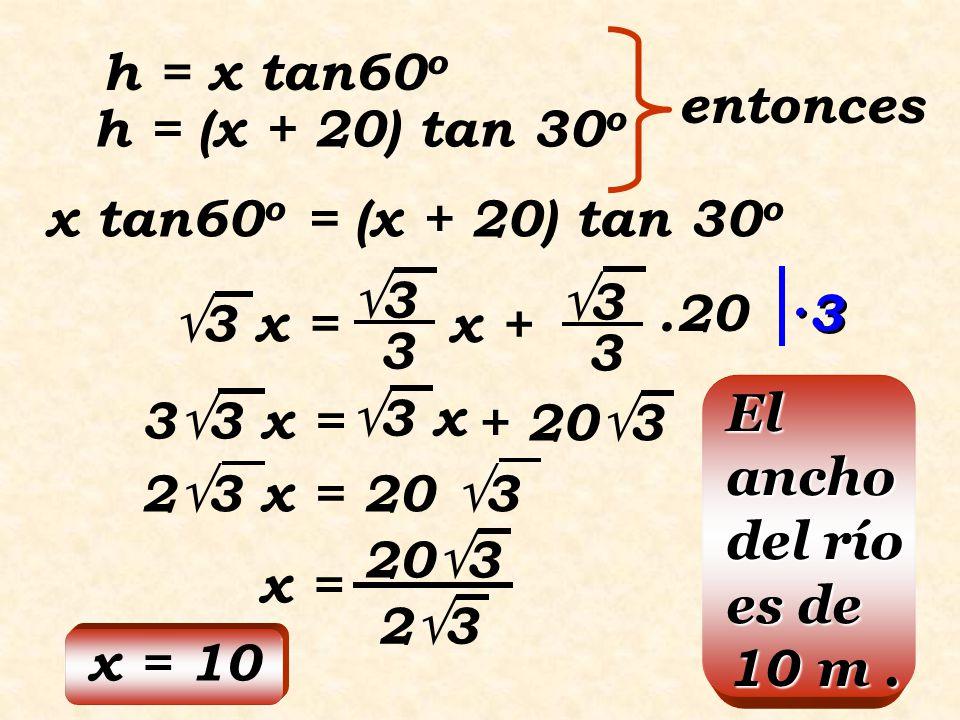 C E B A 60 o 30 o 20m 10m Aplicando el teorema del ángulo de 30 o en el  EBC CE = 10  3 CE = EB  3 CE = 10(1,73) = 17,3 La altura del árbol es de 17,3m.