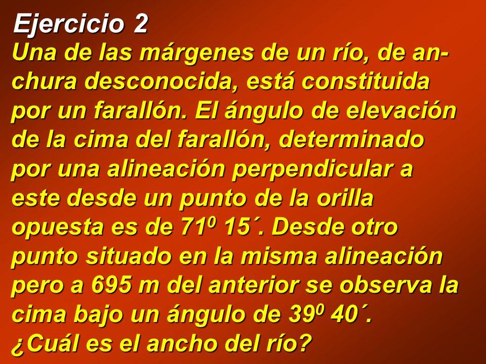   A B C D  = 71 0 15´ 695 m 1 0 60´ = d 15´ d = 0,25 0 = 71,3 0  = = 39,7 0 tan  = x BC x tan  = BC x + 695 BC = x tan  BC = (x + 695) tan  Igualando ambas expresiones tenemos: