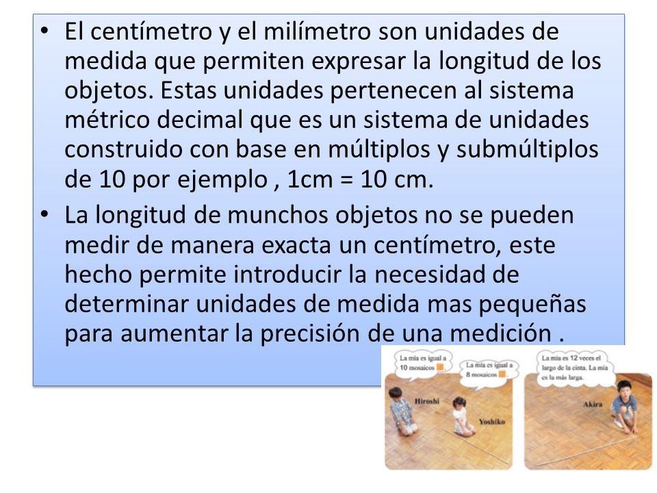El milímetro es una unidad de longitud y diez de estas unidades componen un centímetro (1cm =10 mm).