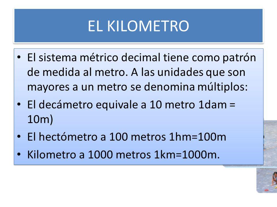 EL KILOMETRO El sistema métrico decimal tiene como patrón de medida al metro. A las unidades que son mayores a un metro se denomina múltiplos: El decá