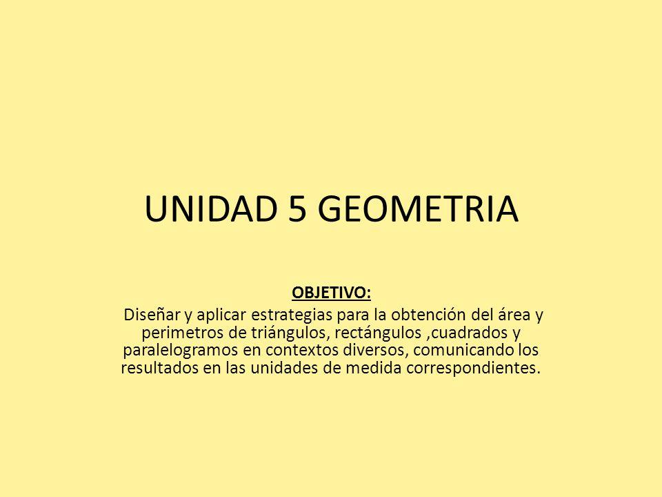 UNIDAD 5 GEOMETRIA OBJETIVO: Diseñar y aplicar estrategias para la obtención del área y perimetros de triángulos, rectángulos,cuadrados y paralelogramos en contextos diversos, comunicando los resultados en las unidades de medida correspondientes.