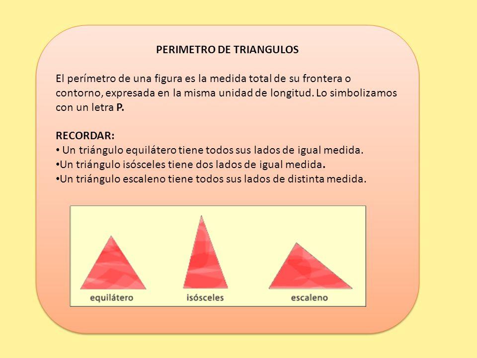PERIMETRO DE TRIANGULOS El perímetro de una figura es la medida total de su frontera o contorno, expresada en la misma unidad de longitud.