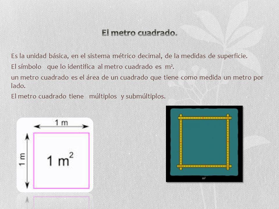 Es la unidad básica, en el sistema métrico decimal, de la medidas de superficie.