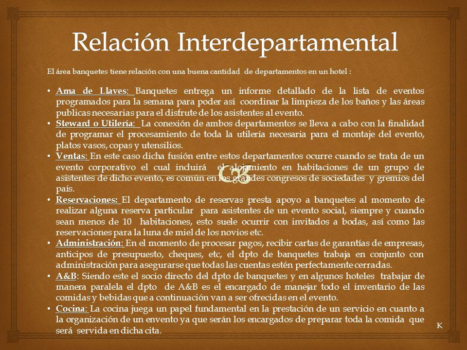 El área banquetes tiene relación con una buena cantidad de departamentos en un hotel : Ama de Llaves Ama de Llaves : Banquetes entrega un informe deta