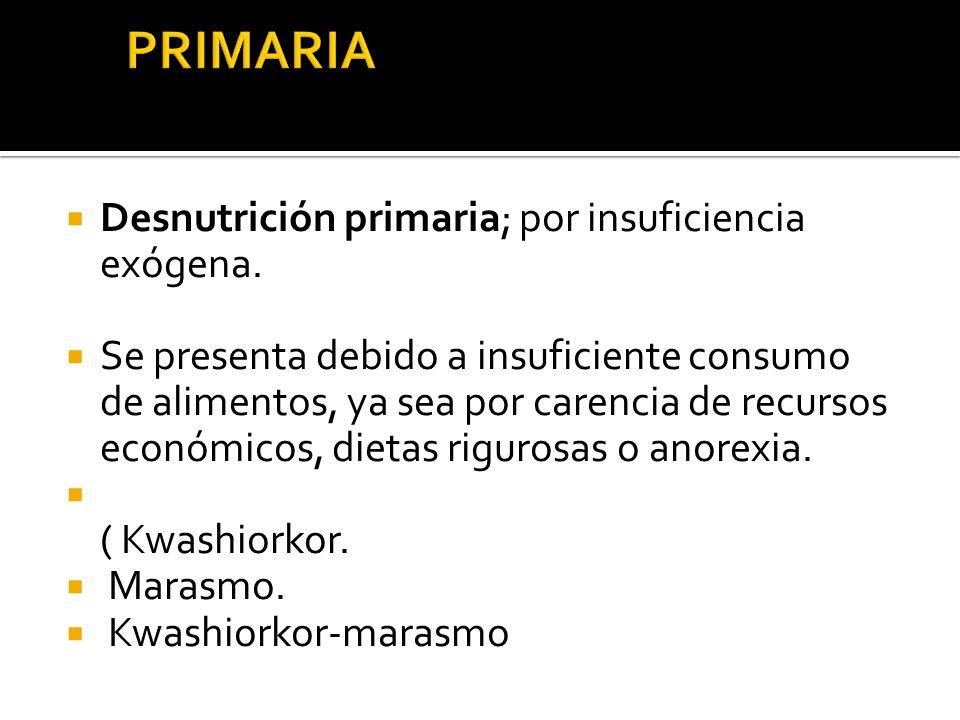  Desnutrición primaria; por insuficiencia exógena.  Se presenta debido a insuficiente consumo de alimentos, ya sea por carencia de recursos económic