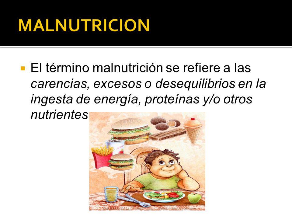  El término malnutrición se refiere a las carencias, excesos o desequilibrios en la ingesta de energía, proteínas y/o otros nutrientes.