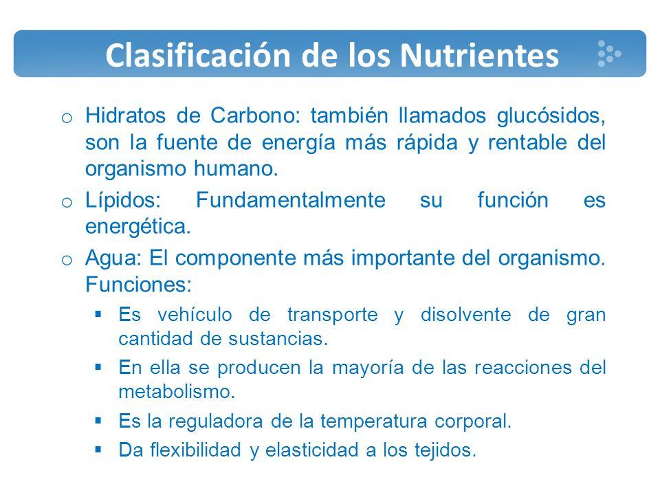Clasificación de los Nutrientes o Vitaminas: son compuestos orgánicos, que aunque en cantidades muy pequeñas, son esenciales para el desarrollo de la vida.