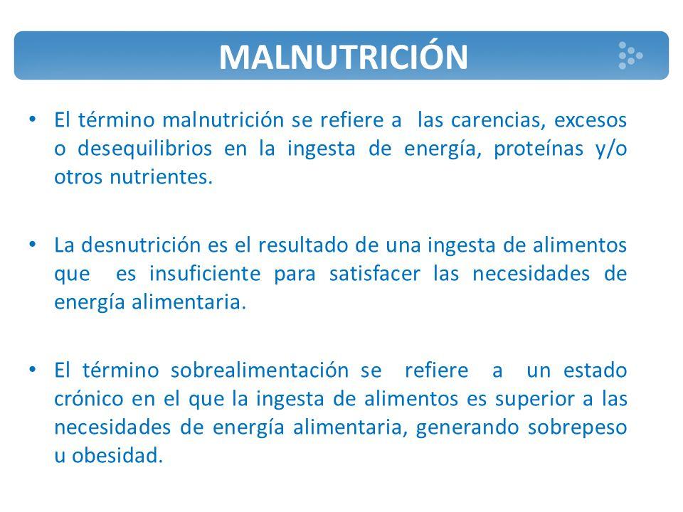  La desnutrición es un síndrome caracterizado por un deterioro de la composición corporal producto de un balance energético y/o proteico negativo.