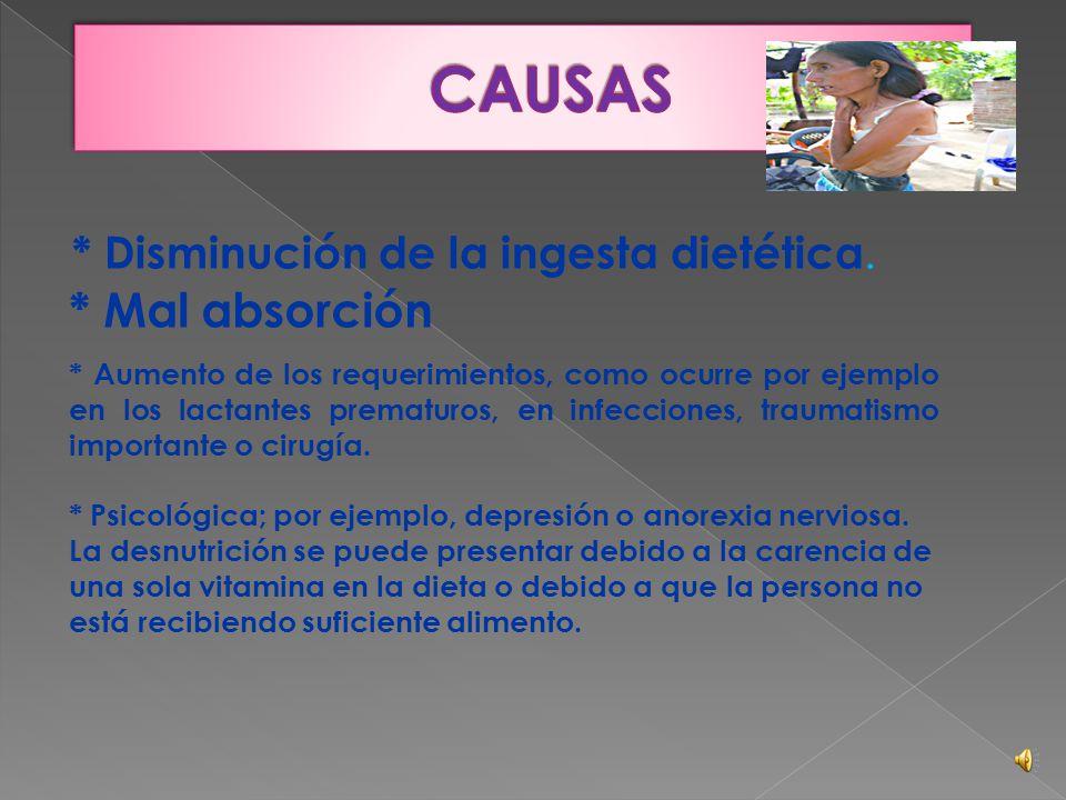  Significa que el cuerpo de una persona no está obteniendo los nutrientes suficientes. Esta condición puede resultar del consumo de una dieta inadecu