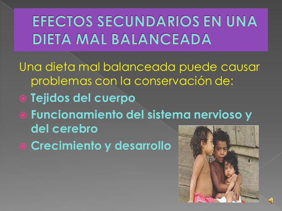  Los síntomas varían de acuerdo con cada trastorno específico relacionado con la desnutrición. Sin embargo, entre los síntomas generales se pueden me