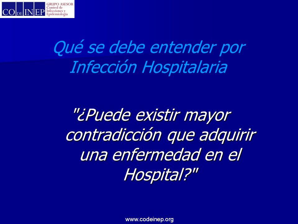 www.codeinep.org EL origen del control de las infecciones en el mundo Inglaterra EE.UU Argentina 1960 se describe el rol y encuentran en una enfermera la figura ideal 1974 SENIC 79% enfermeras Año/76-77 94% enfermeras Año/76-77 94% enfermeras 1979 Dr.