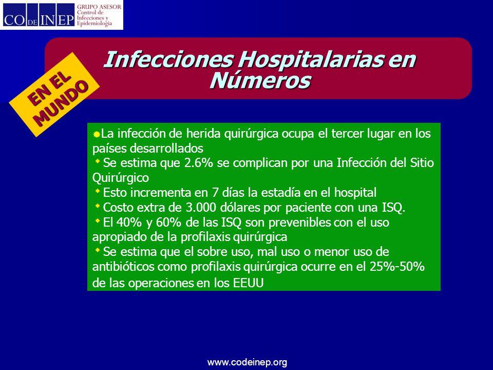 www.codeinep.org  Tasas de infección de herida quirúrgica que varían entre 6% y 10%, Infecciones Hospitalarias en Números Proyecto IRIQ:  La tasa global fue de 3.51%  Estratificada por tipo de procedimiento quirúrgico oscilo entre 0.56 y 13.64 %.
