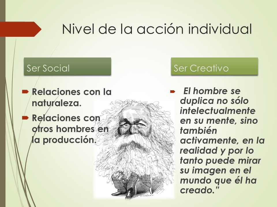 Nivel de la acción individual Ser Social  Relaciones con la naturaleza.