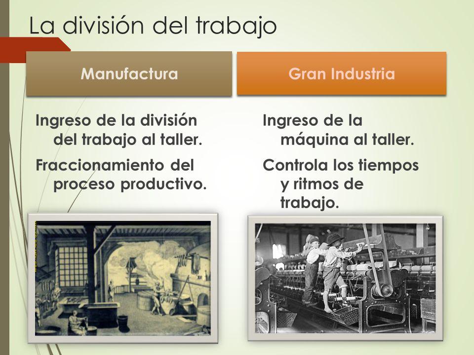 La división del trabajo Manufactura Ingreso de la división del trabajo al taller.
