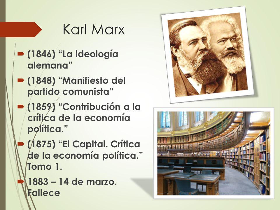 Karl Marx  (1846) La ideología alemana  (1848) Manifiesto del partido comunista  (1859) Contribución a la crítica de la economía política.  (1875) El Capital.