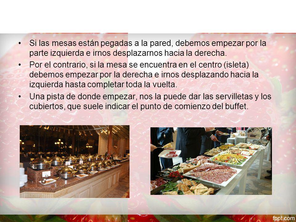 Las mesas para el buffete Para calcular el tamaño de las mesas de un buffet hay que considerar el número total de preparaciones y piezas de decoración, menaje, cubiertos, etc.