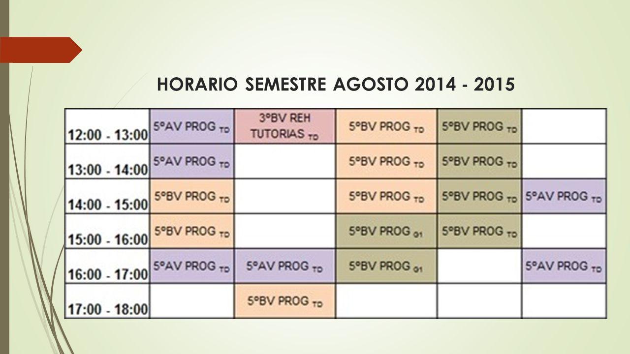 HORARIO SEMESTRE AGOSTO 2014 - 2015