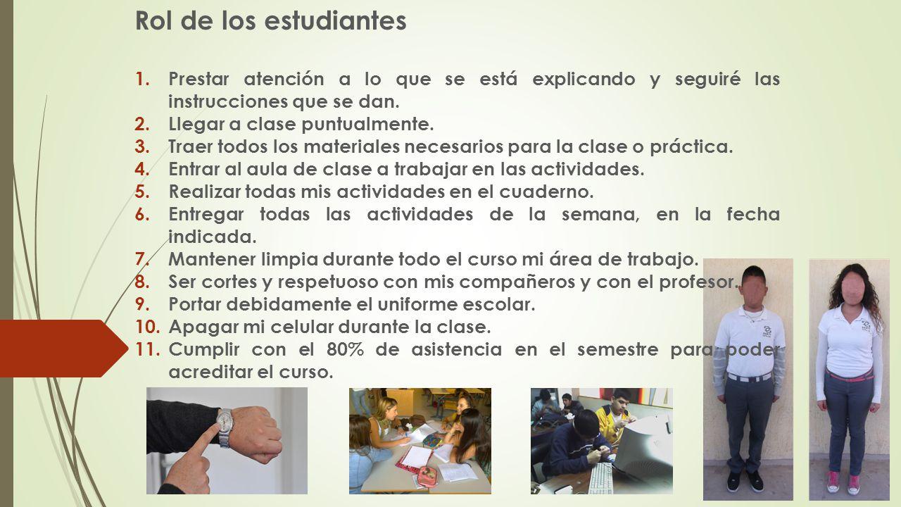 Rol de los estudiantes 1.Prestar atención a lo que se está explicando y seguiré las instrucciones que se dan.